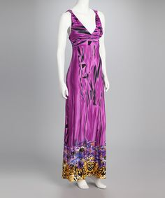 Take a look at this Purple Jungle Empire-Waist Maxi Dress by Sea Breeze: Women's Dresses on @zulily today!