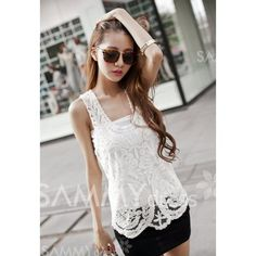 Hollow Out Solid Color Sweet Style Sleeveless Collarless Tank Top For Women