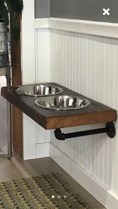 Floating Dog Dish /reclaimed barn wood / Up cycle / metal