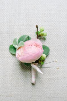 Single Pink Ranunculus Boutonniere
