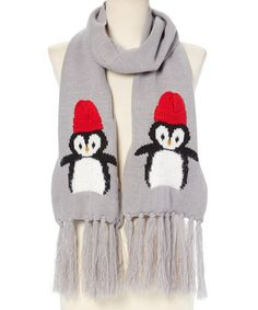Look what I found on #zulily! Gray & Red Chilly Penguin Scarf #zulilyfinds