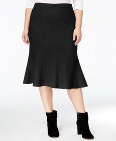 Rachel Rachel Roy Curvy Trendy Plus Size Fit & Flare Skirt - Black 1X