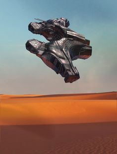 Spaceship Sci Fi Cyber Future 3d Concept Desert