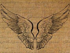 Angel Wings Flying Digital Image Download Transfers To Pillows Totes Tea Towels Burlap No. 1921. $1.00, via Etsy.
