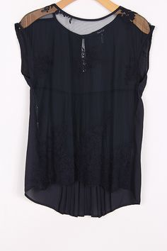 Embroidered Lace Top in Navy