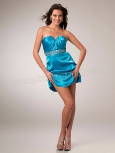 Sweetheart Short Sheath Silhouette Ice Blue Satin Cocktail Gown of Beaded Band at Waist