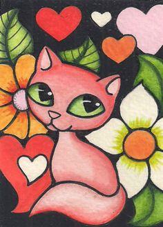 ACEO-Orange-Cat-Bright-Flowers-Hearts-Original-Art