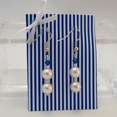 Elegnate Perlohrringe - Ohrhänger - Hängeohrring -Crystal Pearls white- Swarovski Kristall sapphire-earring - handmade - jewelry - silber -