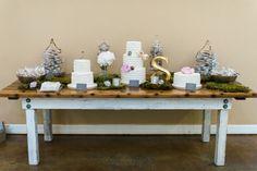 cake table - photo by Dana Fernandez Photography http://ruffledblog.com/organic-and-romantic-texas-wedding