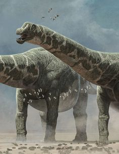 The biggest dinosaurs ever dis-covered, Quo Magazine 11/2014, detail of the dinosaurs. Art by Román García Mora