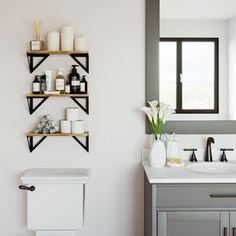 Toilet Shelves, Bathroom Wall Shelves, Bathroom Toilet Decor, Wall Shelf Decor, Decoration For Bathroom, Floating Shelves For Bathroom, Bathroom Wall Pictures, Bath Room Decor, Bathroom Standing Shelf