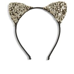 Women's Cara Sequin Cat Ears Headband ($28) ❤ liked on Polyvore featuring accessories, hair accessories, gold, headband hair accessories, hair band headband, sparkly headbands, head wrap headband and gold hair accessories