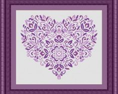 HEART purple  / coeur- Counted cross stitch pattern /grille point de croix ,Cross Stitch PDF, Instant download , free shipping