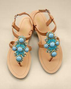 Olivia Miller Turquoise Stone Flat Sandal $28.00 Soma Intimatea