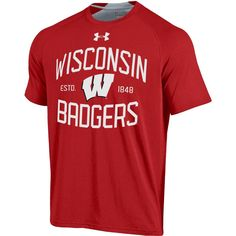 Wisconsin Badgers Under Armour Red Charged Cotton HeatGear Anti-Odor T-Shirt