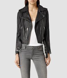 Womens Balfern Leather Biker Jacket (Black) - product_image_alt_text_1