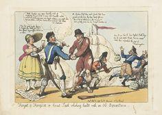 Thomas Rowlandson | Hernieuwde vriendschap tussen Nederland en Engeland, 1799, Thomas Rowlandson, Rudolph Ackermann, 1799 | Spotprent waarin Britse soldaten de Fransen uit Nederland verjagen, een verwijzing naar de Brits-Russische invasie van 1799. Een dankbare Hollander schudt de handen van een Engelse matroos. Een Hollandse vrouw met ontblote boezem schenkt een glas jenever in. Op de achtergrond de schepen van de Britse vloot, rechts vluchten Fransen met achterlating van zakken gestolen…