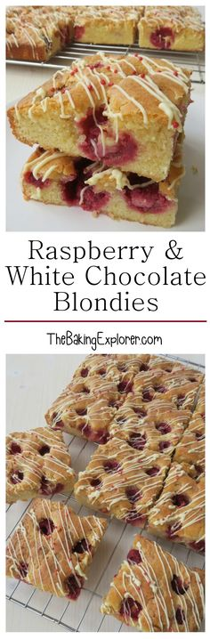 Recipe for a yummy blondie traybake filled with sweet white chocolate and fresh tangy raspberries. Easy to make and great for bake sales!