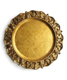 Look at this #zulilyfind! Gold Emboss Charger Plate - Set of Four by Jay Import #zulilyfinds