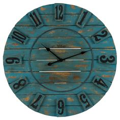Blue Planked Wood Wall Clock