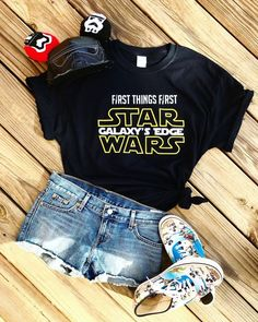 Star Wars Galaxys Edge T-Shirt This t-shirt is Made To Order, one by one printed so we can control the quality. Disney Themed Outfits, Disney Bound Outfits, Disneyland Outfits, Disneyland Trip, Disney Star Wars, Disney Mickey, Disney Parks, Travel Shirts, Vacation Shirts