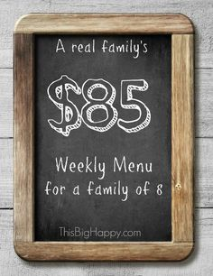 Yes you can feed your large family for just $85 a week! This weekly menu gives you the recipes the list and the cost!