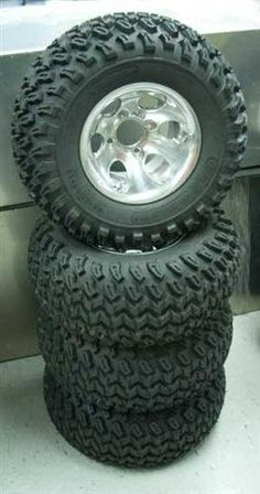 If I had a golf cart, these are the tires for me  4x 22″ Golf Cart Tires w/ 10″ Aluminum Wheels