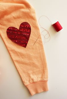 leather heart patch diy
