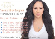 ATTENTION ALL HAIRSTYLISTS Want to earn extra $$$ monthly by referring premium quality hair extensions to your clients?!?! Sign up for DELLA's Salon Affiliate Program today and receive the following features: Access to 100% Virgin Indian Hair Personalized discount code 15% kickback referral on all purchase prices that use your code 20% discount on all orders for your clients Handle NO INVENTORY  Why wait?! For more information contact us at info@dellabeauty.com  #dellabeauty #hairexcellence…