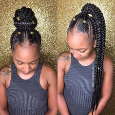 Top 60 All the Rage Looks with Long Box Braids - Hairstyles Trends Box Braids Hairstyles, Braided Ponytail Hairstyles, Hairstyles 2018, Fashion Hairstyles, Hairstyle Ideas, Cornrows, Feed In Braids Ponytail, Curly Hair Styles, Natural Hair Styles