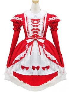 Red and White Sweet Maid Lolita Dress