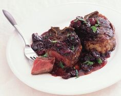 Lamb chops with red wine and cherry sauce Lamb Chops with Dried Cherries and Port Recipe at Epicurious.com