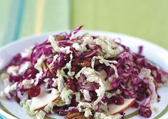 Red and Napa Cabbage Salad with Braeburn Apples and Spiced Pecans June Made this for a picnic. Subbed cherry-flavored craisins and green cabbage.omg so yummy Slaw Recipes, Pecan Recipes, Cabbage Recipes, Cooking Recipes, Healthy Recipes, Veggie Recipes, Apple Recipes, Yummy Recipes, Holiday Recipes