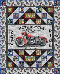 Coast to Coast AND American Dream Motorcycle Quilting Cotton, Blank Quilting, Cut to order, Panel & matching fabrics! Longarm Quilting, Machine Quilting, Quilting Projects, Quilting Designs, Quilting Ideas, Fabric Panel Quilts, Fabric Panels, Man Quilt, Boy Quilts