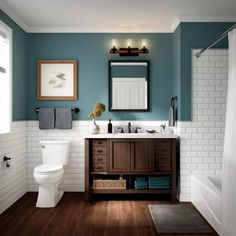 √ 17 Best Bathroom Renovation Using Attractive Bathroom Paint Colors & Schemes Upstairs Bathrooms, Basement Bathroom, Lowes Bathroom Vanity, Boy Bathroom, Guest Bathrooms, Pottery Barn Bathroom, Warm Bathroom, Bathroom Beadboard, Toilet Vanity