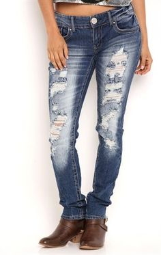Deb Shops Ariya Curvy Fit Skinny Jean with Heavy Destruction Details $24.50