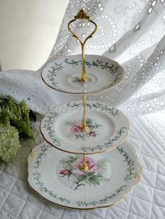 Alzatina 3 piani porcellana inglese vintage mix & match ...
