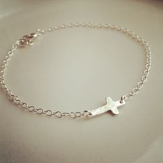 Dainty Sterling Silver Sideways Hammer Cross by cocowagner on Etsy, $29.90
