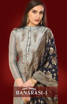 Your Choice Banarasi Vol 1 Salwar Suit Wholesale Catalog 4 Pcs Anarkali Suits With Price, Salwar Suits, Kurti Embroidery Design, Embroidery Fashion, Hand Embroidery, Shadi Dresses, Pakistani Formal Dresses, Silk Kurti Designs, Banarasi Suit