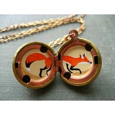 hand painted inside of a locket Gems Jewelry, Jewelry Box, Jewelery, Locket Necklace, Pendant Necklace, Necklaces, Science Gifts, Fashion Accessories, Fox