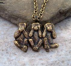 Oxidized Brass Monkey Necklace - etsy