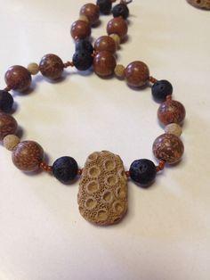 Ceramic glass and lava stone beads