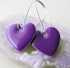 Dangle Drop Earrings Purple Epoxy Enamel by blueatticdoor