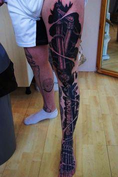 35 Amazing Bio-mechanical Tattoo Designs Examples