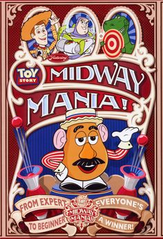 Giclee Printed Toy Story Midway Mania Attraction by faisonstout Film Disney, Disney Magic, Disney Art, Disney Movies, Disney Pixar, Disney Villains, American Retro, Arte Indie, Disney Rides