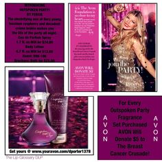 So, everyone knows that #October is #BreastCancerAwareness Month! #AVON is the world's No. 1 fundraiser FOR THE BREAST CANCER CAUSE! See how you can make a difference in women's lives, for every Outspoken Party! by Fergie Fragrance Set purchased, AVON will #Donate $5 to the AVON BREAST CANCER CRUSADE!  To help support the #Cause starting 10/02/15 visit www.youravon.com/dporter1378 to get yours!