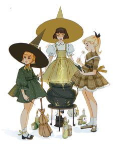 """""""another witch drawing based on vintage dress patterns"""" Witch Drawing, Drawing Base, Witch Aesthetic, Aesthetic Art, Illustrations, Art And Illustration, Pretty Art, Cute Art, Witch Characters"""