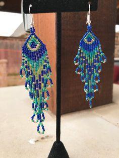 Peacock Colored Seed Bead Earrings