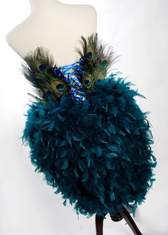 Burlesque Peacock Feather Corset