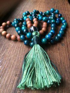Chrysocolla and sandalwood mala bead necklace, 108 mala beads, quartz guru bead, forest green cotton, multi green tassel, prayer beads, yoga by Aummalas on Etsy